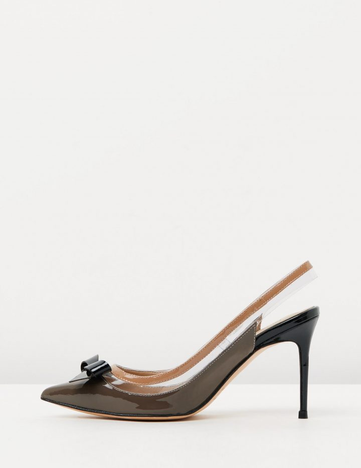 ROCHELLE - PATENT TAUPE & BLACK