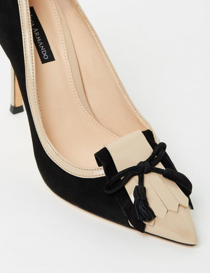 Madison - Black Suede & Beige Patent