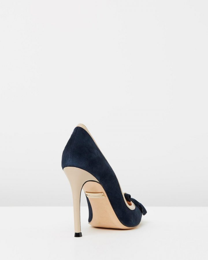 Madison - Navy Suede & Beige Patent