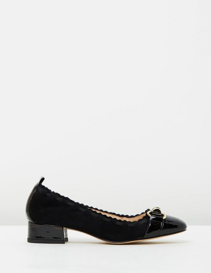Beatrix - Black Suede with Black Patent