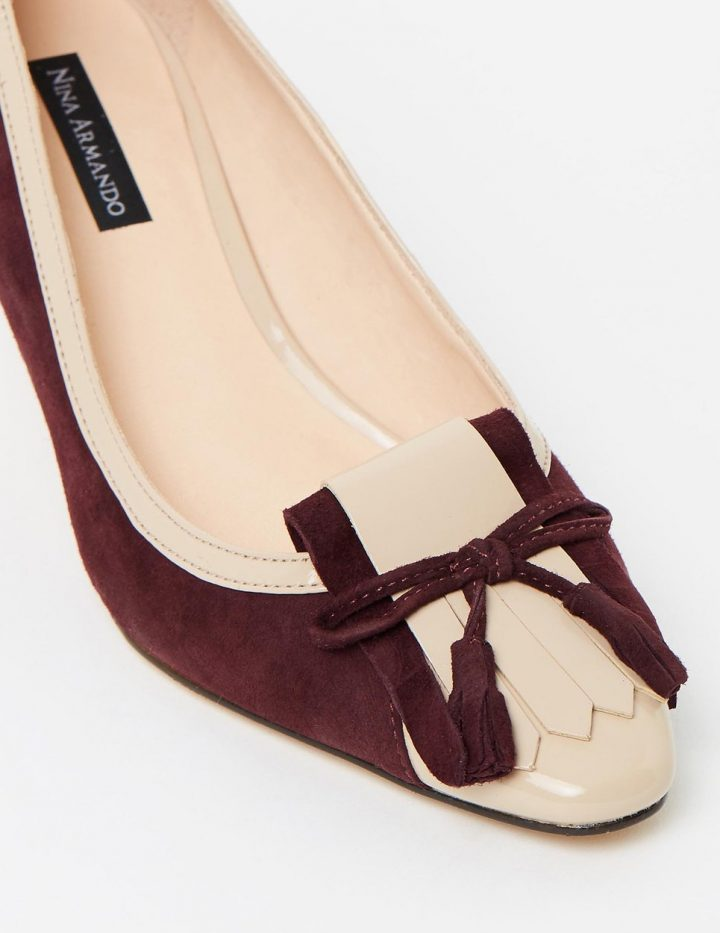 Winnie - Merlot Suede with Nude Patent