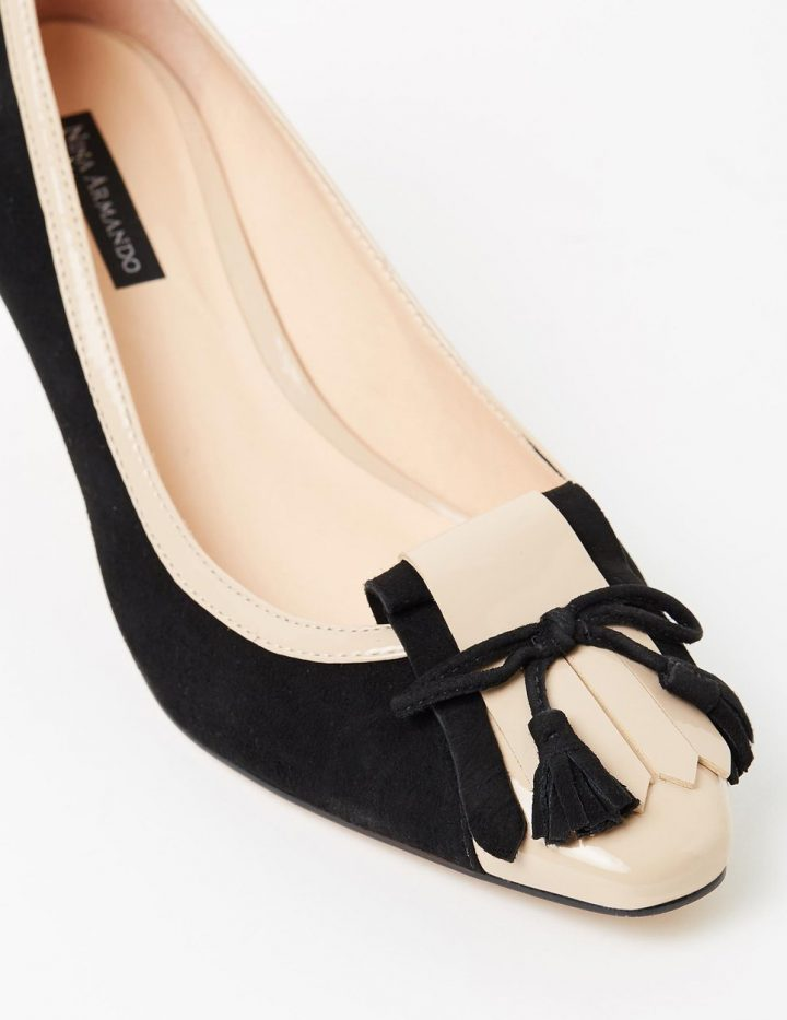 Winnie - Black Suede with Nude Patent