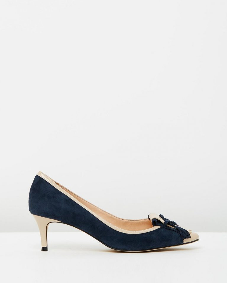 Winnie - Navy Suede with Nude Patent