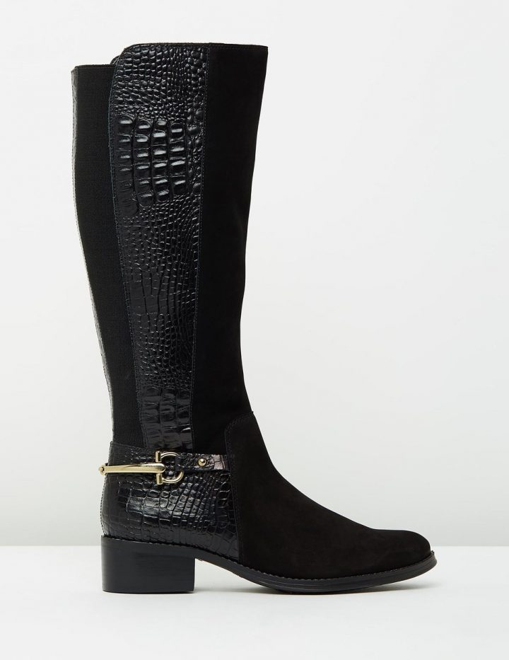 Cora - Black Suede With Croc