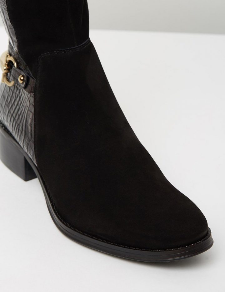 Cora - Black Suede With Croc