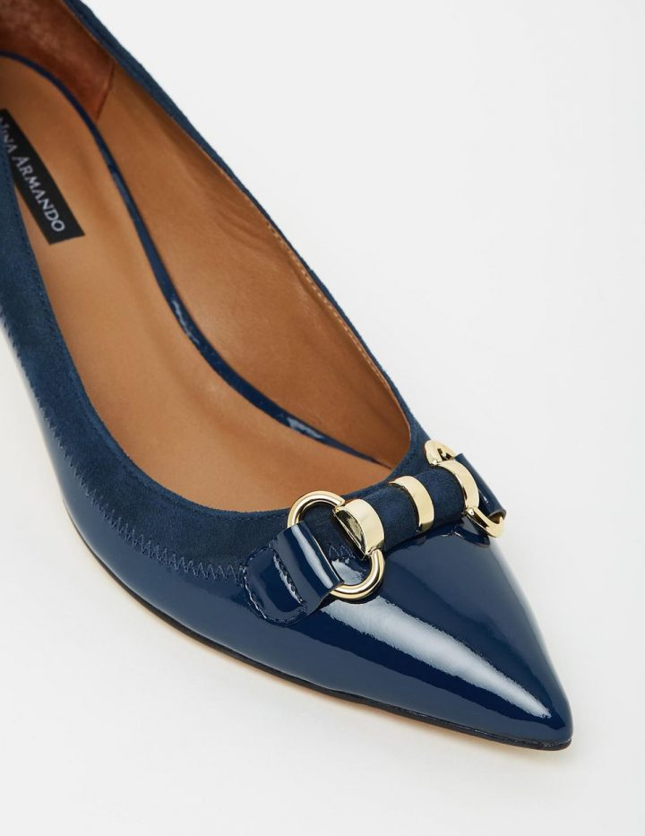 Rebecca - Navy Patent with Suede