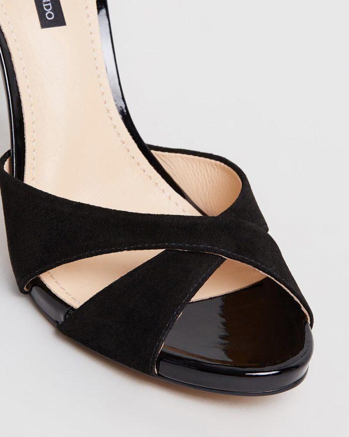 Mara - Black with Floral Heel
