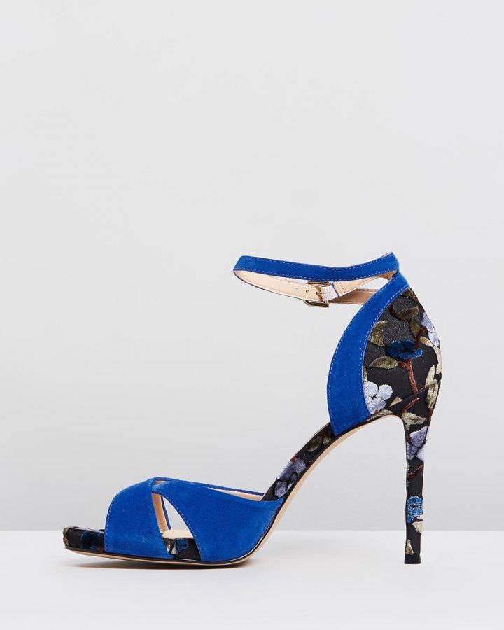 Mara - Blue with Floral Heel