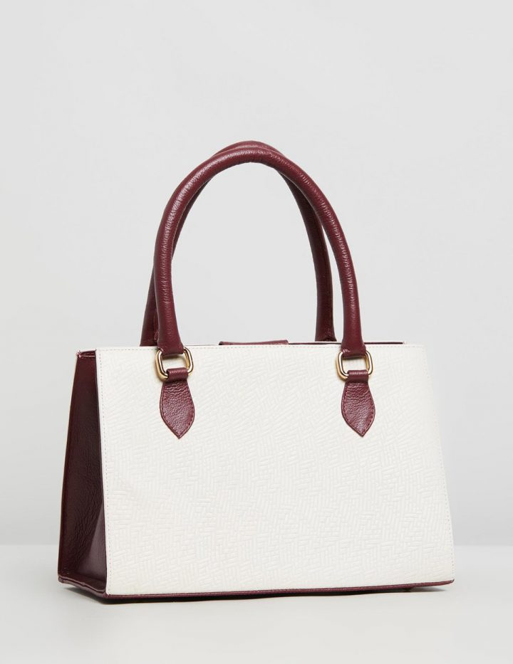 Delilah Handbag - Red & Off White