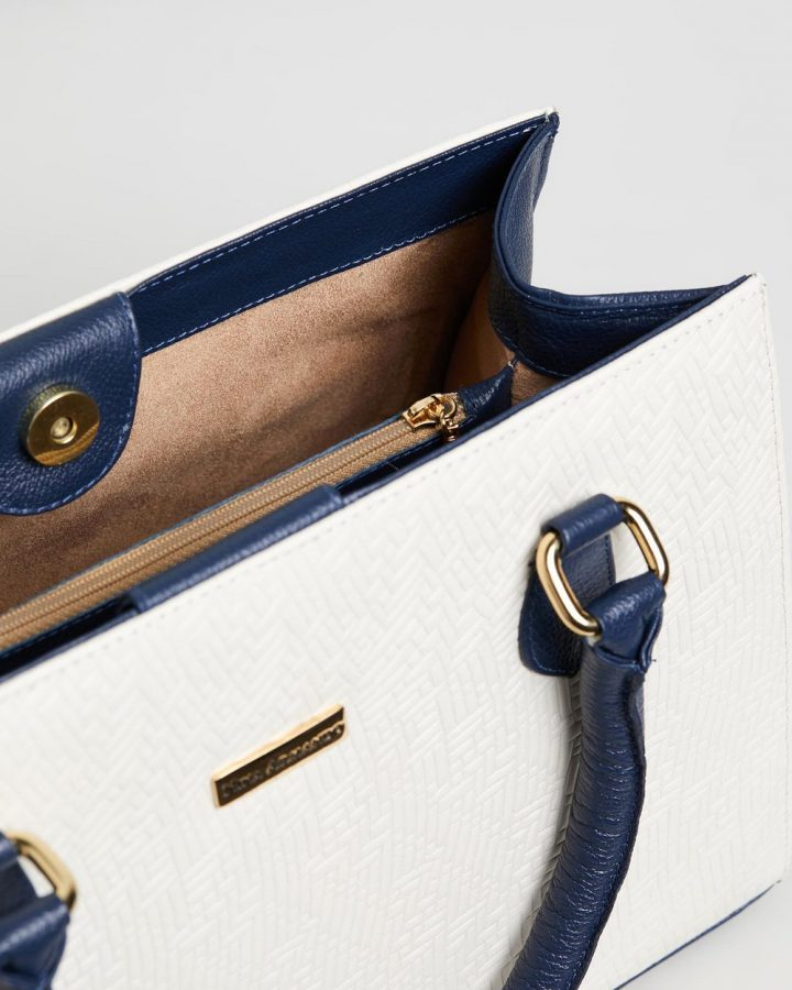 Delilah Handbag - Navy & Off White